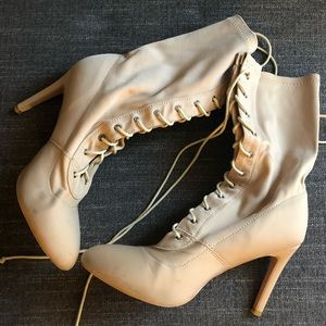 Shoes - Nude Lace Up Booties